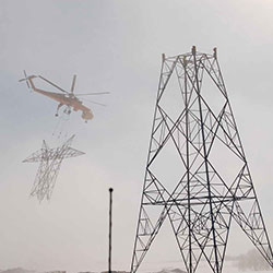 Big Eddy-Knight Transmission Line - tower construction, helicopter