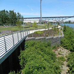 South Waterfront Greenway - path, retaining wall, vegetation