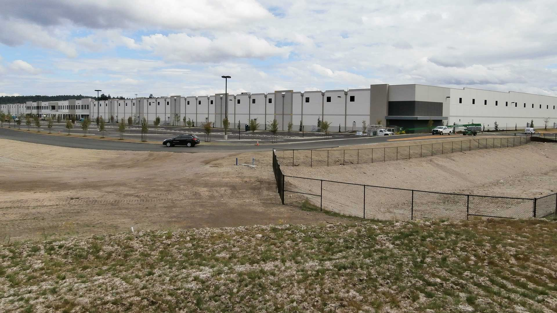 Amazon Distribution Center - building, swale